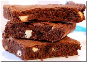 Brownies with White Chocolate Closeup