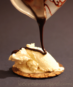 Hot Fudge over Vanilla Ice Cream