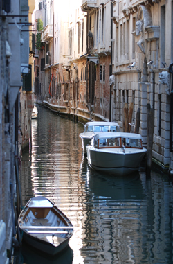 Boats in the Canal, Venice