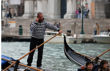 Gondolier on the phone